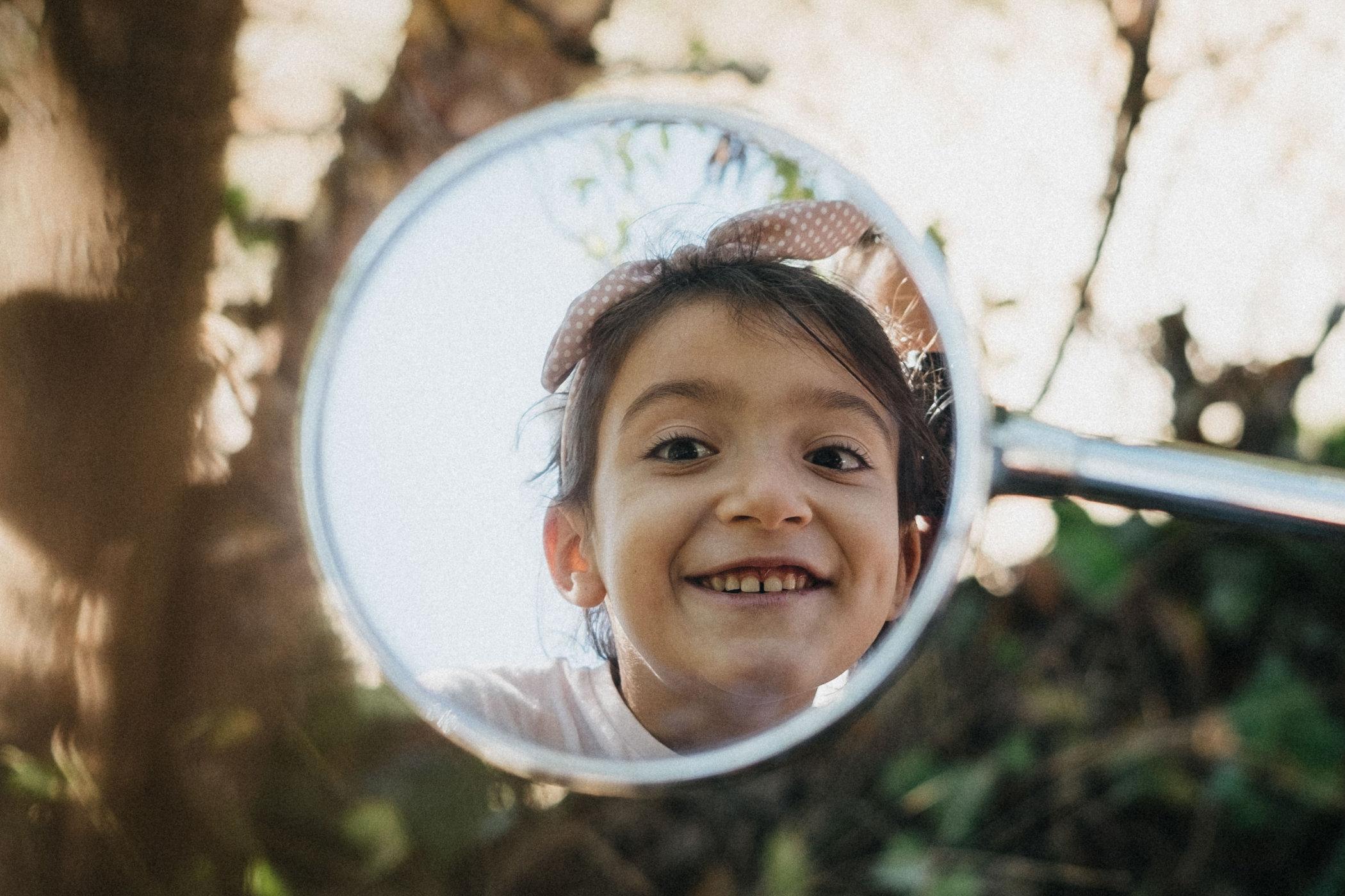 Mirror reflection of a girl, portrait by Pauline Mattia